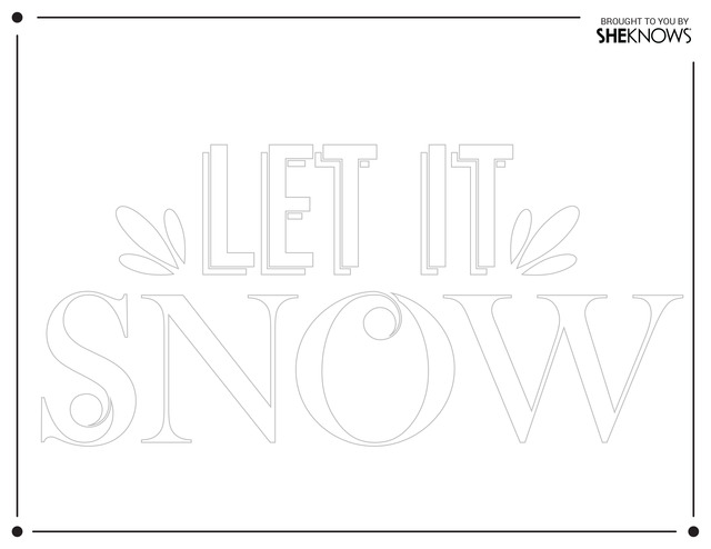 Let it snow wall stencil white