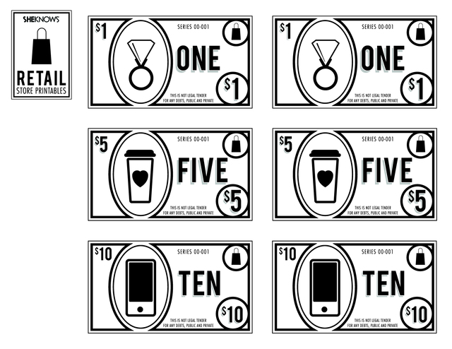 play pretend money free printable coloring