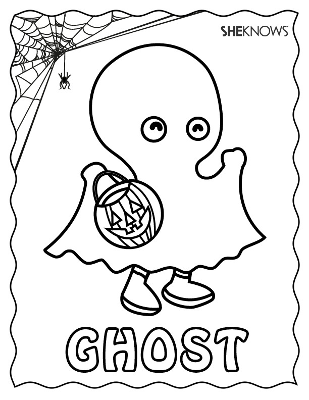 Ghost Halloween Colouring Pages
