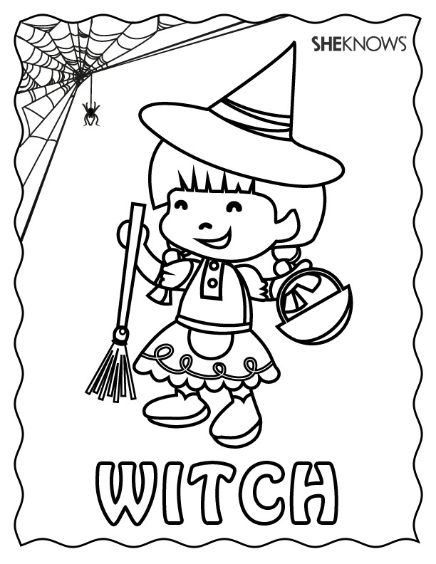 Printable witch printable coloring pages ~ Witch Halloween coloring page - Free Printable Coloring Pages