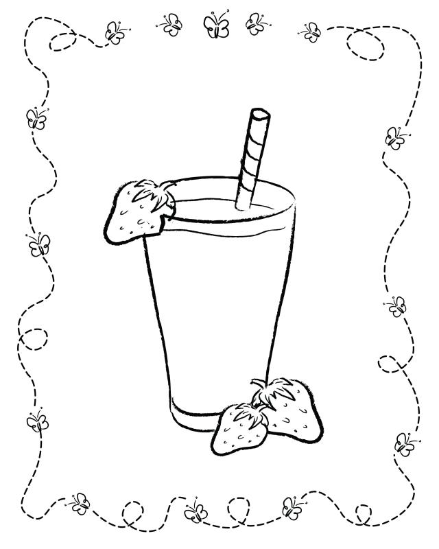 Strawberry Milkshake Free Colouring Pages