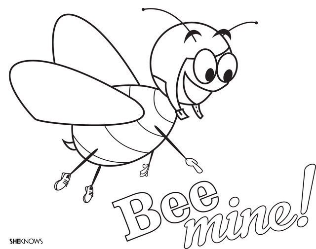 Bee Mine Free Printable Coloring
