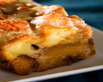 Apple Bread Pudding with Port Crème Anglaise