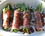 Arugula, Roasted Red Pepper and Parmesan Prosciutto Wraps