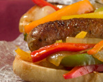 Beer sausage hoagies with peppers and onions
