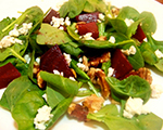 Beet and Spinach Salad with Pecans