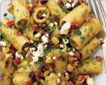 Rigatoni pasta with bolognese green chile chorizo sauce