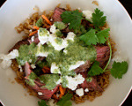 Brown Rice, Steak and Feta Bowl with Tahini Dressing