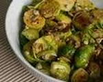Warm Brussels Sprouts Salad with Gorgonzola & Sunflower Seeds
