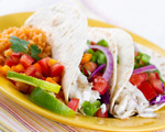 California fish tacos with Tex-Mex rice