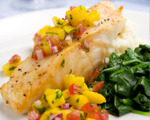Caribbean coconut fish with tropical salsa