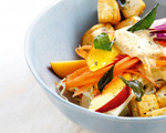 Caribbean Peach Slaw Salad with Crispy Tofu