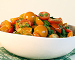 Cherry Tomatoes with Garlic Scapes and Chives