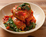 Chicken Thighs with Tomatoes and Spinach