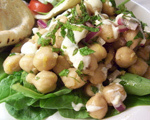 Chickpea Salad with Orange Yogurt Sauce