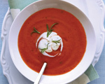 Chilled Tomato Soup with Tarragon Crème Fraiche