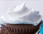Healthy chocolate cupcakes with marshmallow frosting