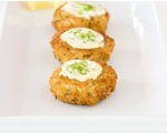 Crab Cakes with Yogurt, Lemon and Caper Sauce