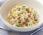 Creamy Fettuccine with Sweet Peas and Prosciutto