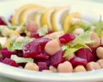 Fresh chick pea and beet summer salad