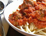 Family-style spaghetti and meatballs