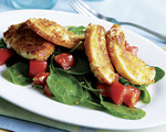 Fried Mozzarella Cheese with Prosciutto and Arugula Salad