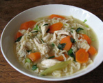  Ginger Chicken and Rice Noodle Vegetable Soup