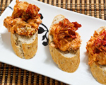 Goat Cheese, Marinara and Pesto Crostini