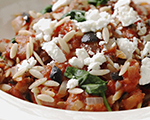 Greek Lamb over Orzo with Feta