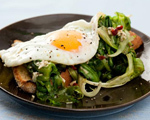 Grilled Escarole and Fried Egg on Grilled Peasant Bread