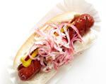 Grilled Hot Dogs with Pickled Onions
