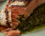 Grilled Salmon with Pecan Pesto