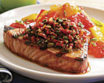 Grilled Tuna with Butter and Basil Spread and Fresh Tomato Sauce