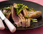 Grilled Tuna with Fresh Scallion Sauce