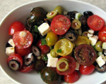 Heirloom Tomato and 3-Olive Salad
