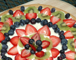Kiwi and blueberry dessert pizza