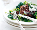 Lamb Steaks with Greens and Garlicky Yogurt