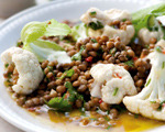 Lentil, Cilantro and Chili Salad with Warm Cauliflower Florets
