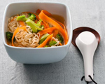 Miso and Ramen Soup with Broccoli and Carrot