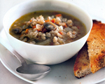 Mushroom and Barley Soup with Meatballs