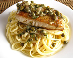 Noodles with Halibut and Tapenade Sauce