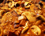 Baked onion-mushroom steak