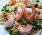 Orzo, asparagus and shrimp salad
