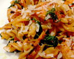 Pasta Romesco with Shrimp and Arugula