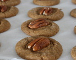 Pecan-Topped Gingersnap Cookies