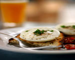 Poached Eggs with Turkey Sausage Crostini