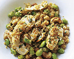 Poached Chicken with Quinoa, Edamame and Chickpeas