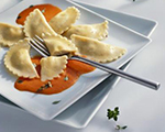 Ravioli with Sweet Red Bell Pepper Sauce