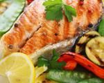 Lemon grilled salmon and summer vegetables