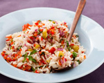Rice Salad with Green Olives and Sweet Peppers